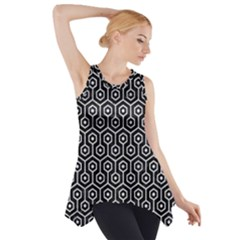 Hexagon1 Black Marble & White Marble Side Drop Tank Tunic