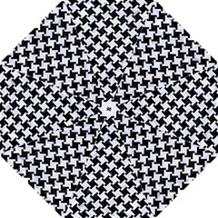 Houndstooth2 Black Marble & White Marble Straight Umbrella