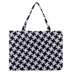 HTH2 BK-WH MARBLE Medium Zipper Tote Bag