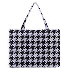 HTH1 BK-WH MARBLE Medium Zipper Tote Bag