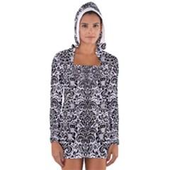 DMS2 BK-WH MARBLE (R) Women s Long Sleeve Hooded T-shirt