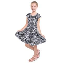 DMS2 BK-WH MARBLE (R) Kids  Short Sleeve Dress
