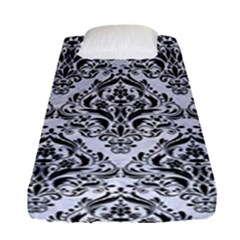 Damask1 Black Marble & White Marble (r) Fitted Sheet (single Size)