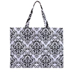 DMS1 BK-WH MARBLE (R) Large Tote Bag
