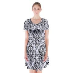 DMS1 BK-WH MARBLE (R) Short Sleeve V-neck Flare Dress