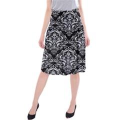 DMS1 BK-WH MARBLE Midi Beach Skirt