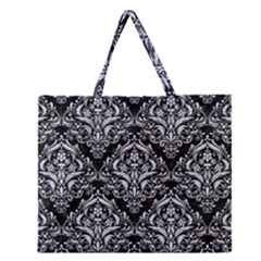 DMS1 BK-WH MARBLE Zipper Large Tote Bag