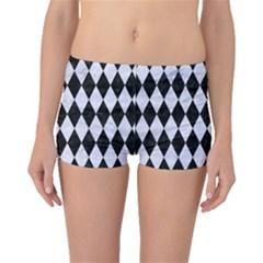 Diamond1 Black Marble & White Marble Boyleg Bikini Bottoms