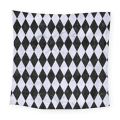 Diamond1 Black Marble & White Marble Square Tapestry (large)
