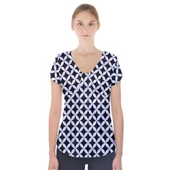 CIR3 BK-WH MARBLE Short Sleeve Front Detail Top