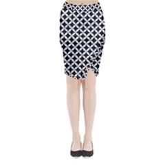 CIR3 BK-WH MARBLE Midi Wrap Pencil Skirt
