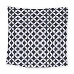 Circles3 Black Marble & White Marble Square Tapestry (large)