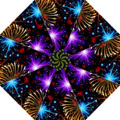 Celebration Fireworks In Red Blue Yellow And Green Color Hook Handle Umbrellas (medium)