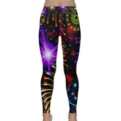 Celebration Fireworks In Red Blue Yellow And Green Color Classic Yoga Leggings