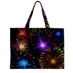 Celebration Fireworks In Red Blue Yellow And Green Color Zipper Mini Tote Bag