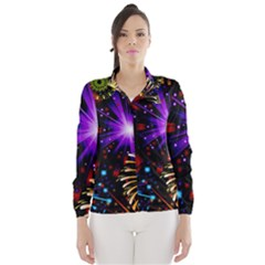Celebration Fireworks In Red Blue Yellow And Green Color Wind Breaker (women)
