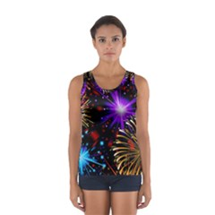 Celebration Fireworks In Red Blue Yellow And Green Color Women s Sport Tank Top