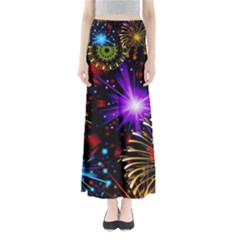Celebration Fireworks In Red Blue Yellow And Green Color Maxi Skirts