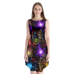 Celebration Fireworks In Red Blue Yellow And Green Color Sleeveless Chiffon Dress