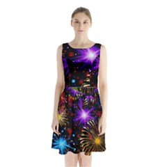 Celebration Fireworks In Red Blue Yellow And Green Color Sleeveless Chiffon Waist Tie Dress