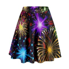Celebration Fireworks In Red Blue Yellow And Green Color High Waist Skirt