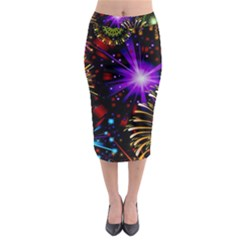Celebration Fireworks In Red Blue Yellow And Green Color Midi Pencil Skirt