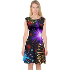 Celebration Fireworks In Red Blue Yellow And Green Color Capsleeve Midi Dress