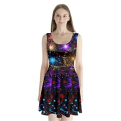Celebration Fireworks In Red Blue Yellow And Green Color Split Back Mini Dress