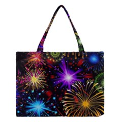 Celebration Fireworks In Red Blue Yellow And Green Color Medium Tote Bag