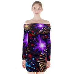 Celebration Fireworks In Red Blue Yellow And Green Color Long Sleeve Off Shoulder Dress