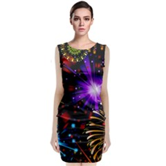 Celebration Fireworks In Red Blue Yellow And Green Color Sleeveless Velvet Midi Dress
