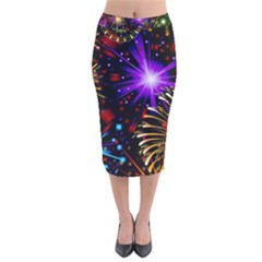 Celebration Fireworks In Red Blue Yellow And Green Color Velvet Midi Pencil Skirt
