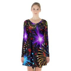 Celebration Fireworks In Red Blue Yellow And Green Color Long Sleeve Velvet V Neck Dress