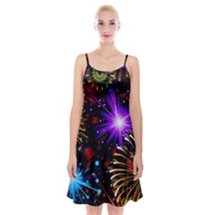 Celebration Fireworks In Red Blue Yellow And Green Color Spaghetti Strap Velvet Dress