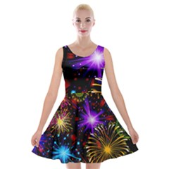Celebration Fireworks In Red Blue Yellow And Green Color Velvet Skater Dress