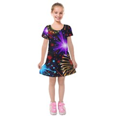 Celebration Fireworks In Red Blue Yellow And Green Color Kids  Short Sleeve Velvet Dress