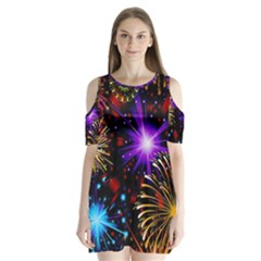 Celebration Fireworks In Red Blue Yellow And Green Color Shoulder Cutout Velvet  One Piece