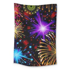 Celebration Fireworks In Red Blue Yellow And Green Color Large Tapestry