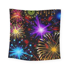 Celebration Fireworks In Red Blue Yellow And Green Color Square Tapestry (small)
