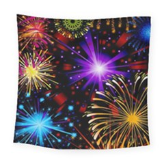 Celebration Fireworks In Red Blue Yellow And Green Color Square Tapestry (Large)