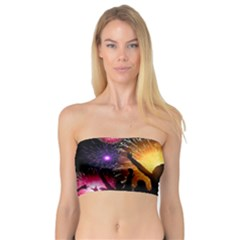 Celebration Night Sky With Fireworks In Various Colors Bandeau Top