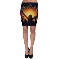 Celebration Night Sky With Fireworks In Various Colors Bodycon Skirt