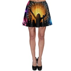 Celebration Night Sky With Fireworks In Various Colors Skater Skirt