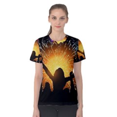 Celebration Night Sky With Fireworks In Various Colors Women s Cotton Tee