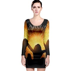 Celebration Night Sky With Fireworks In Various Colors Long Sleeve Bodycon Dress
