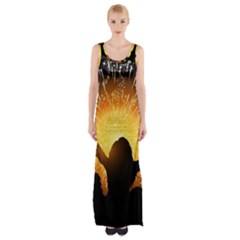 Celebration Night Sky With Fireworks In Various Colors Maxi Thigh Split Dress