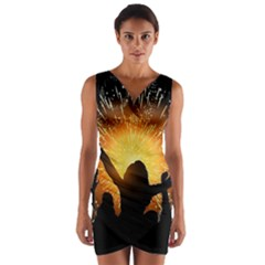 Celebration Night Sky With Fireworks In Various Colors Wrap Front Bodycon Dress