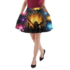 Celebration Night Sky With Fireworks In Various Colors A-Line Pocket Skirt