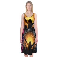 Celebration Night Sky With Fireworks In Various Colors Midi Sleeveless Dress