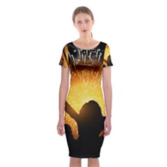 Celebration Night Sky With Fireworks In Various Colors Classic Short Sleeve Midi Dress